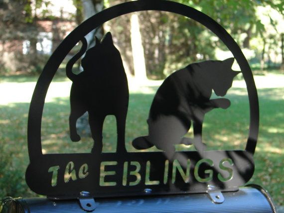 CAT LOVER MAILBOX TOPPER METAL ADDRESS SIGN PET PERSONALIZED FELINE