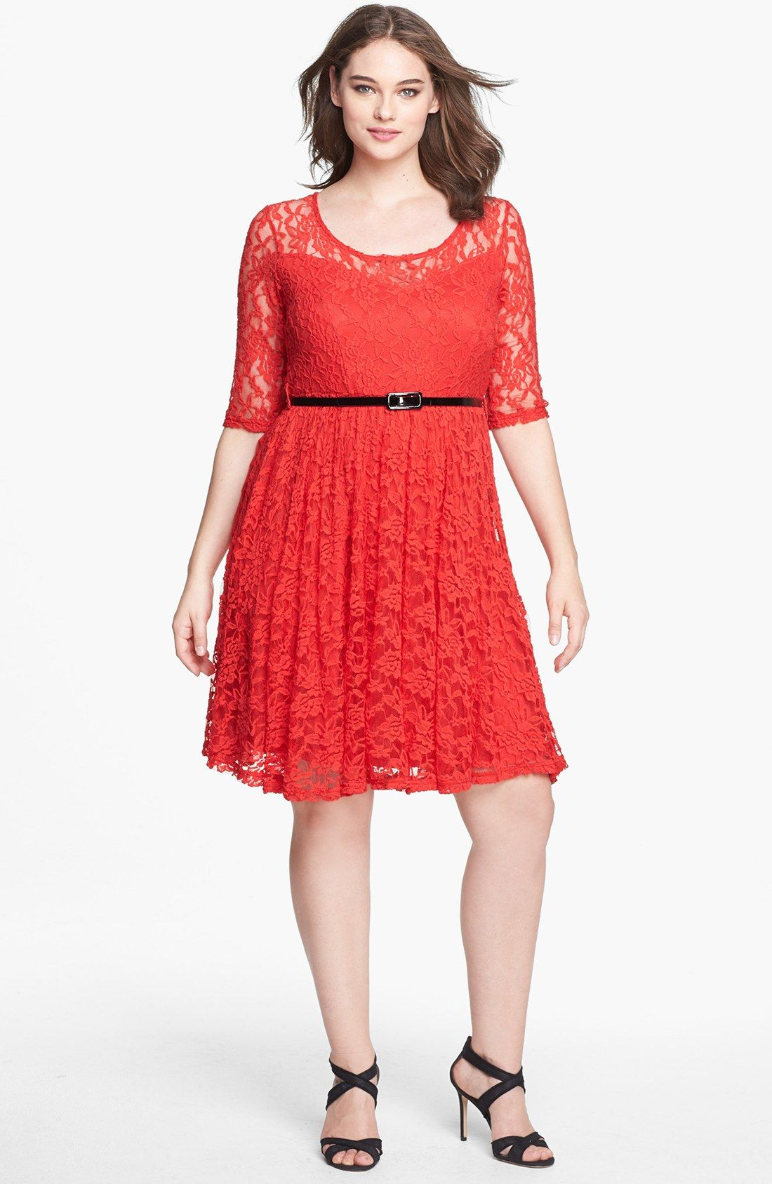 City chic belted lace fit flare dress plus size