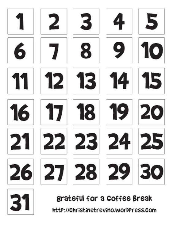 Printable Calendar Numbers – printable calendar 2017 ...