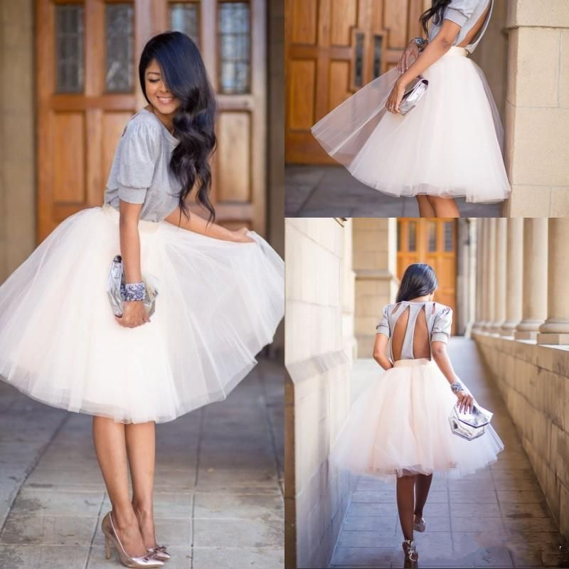 Women's Tutu Tulle A Line Skirts Short Prom Party Knee