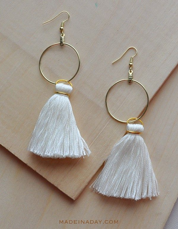 Diy Hoop Tassel Earrings Jewelry Beading Pinterest Diy