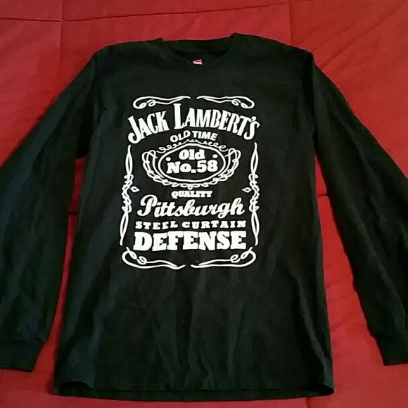 fb340a23dffd Long Sleeved T Shirts · Pittsburgh Steelers Jack Lambert black tee top.  Unique long sleeve tee for any Steelers fan