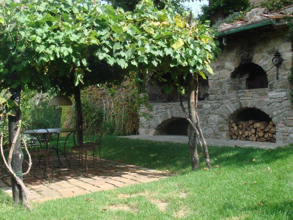 Dining Area Under Grape Vine Covered Pergola Next To Pizza