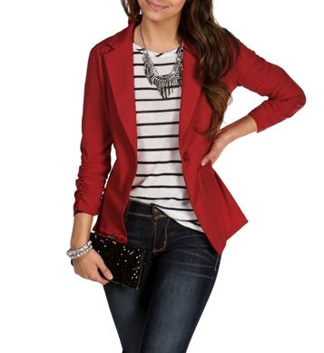 Red Business Blazer with stripes and jeans - cute, business casual for the office