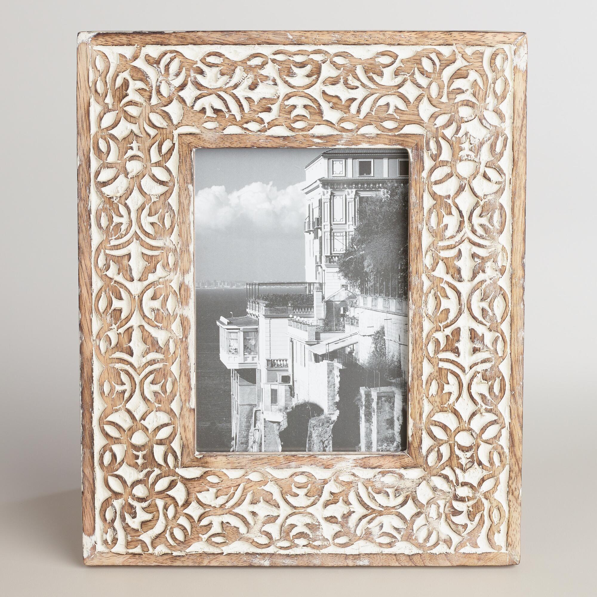 Whitewash Carved Wood Deja Frame | World Market | projects in 2018 ...