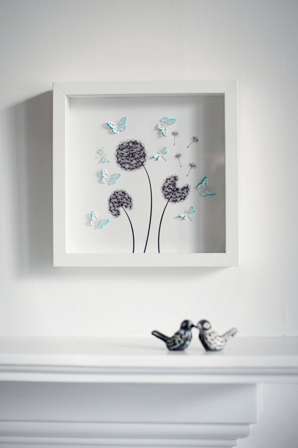Beautiful handmade box frame picture of DANDELIONS with 3d ...