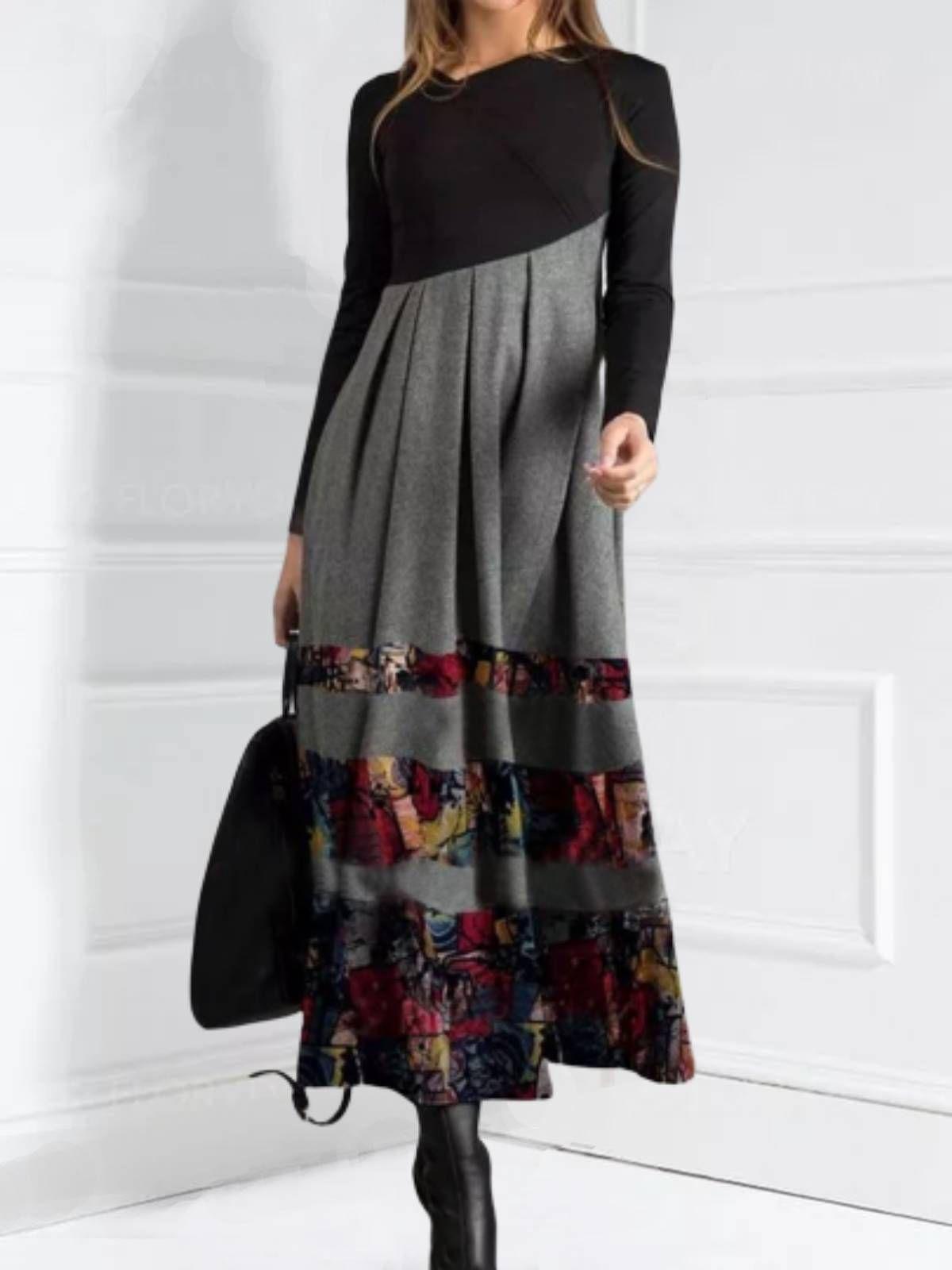 Women Abstract Long Sleeve Cotton Blend Dresses Cotton Blends Dress Maxi Dress With Sleeves Long Sleeve Maxi Dress [ 1600 x 1200 Pixel ]