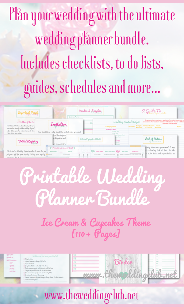 The ultimate printable wedding planner bundle, with more than 100 ...