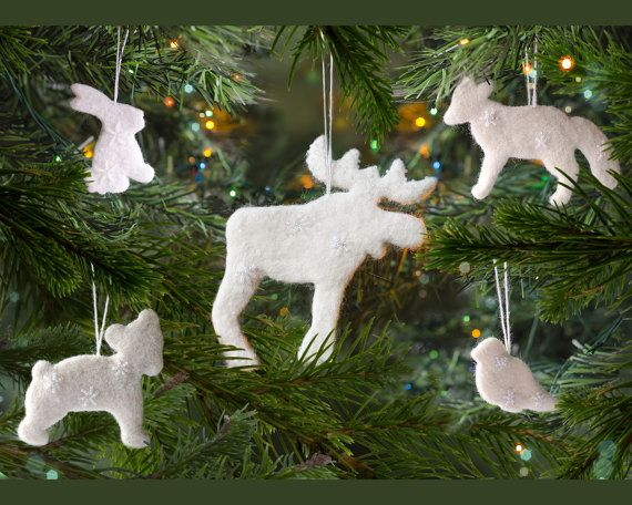 Woodland ornaments set Waldorf decorations Forest animal ornaments ...