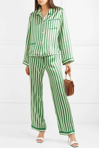 373610a0d9819 Morgan Lane - Chantal Striped Silk-charmeuse Pajama Pants - Emerald   Chantal Striped