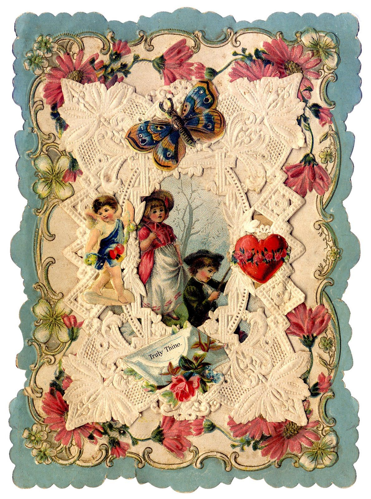 Antique Valentines Bunnies Birds and Butterflies – Vintage Victorian Valentine Cards