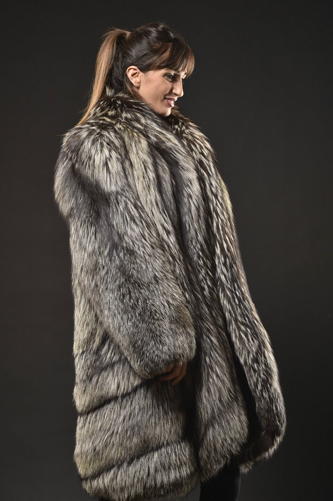 silver fox fur coat manteau pelisse fourrure renard argent pelliccia volpe ebay fourrures. Black Bedroom Furniture Sets. Home Design Ideas