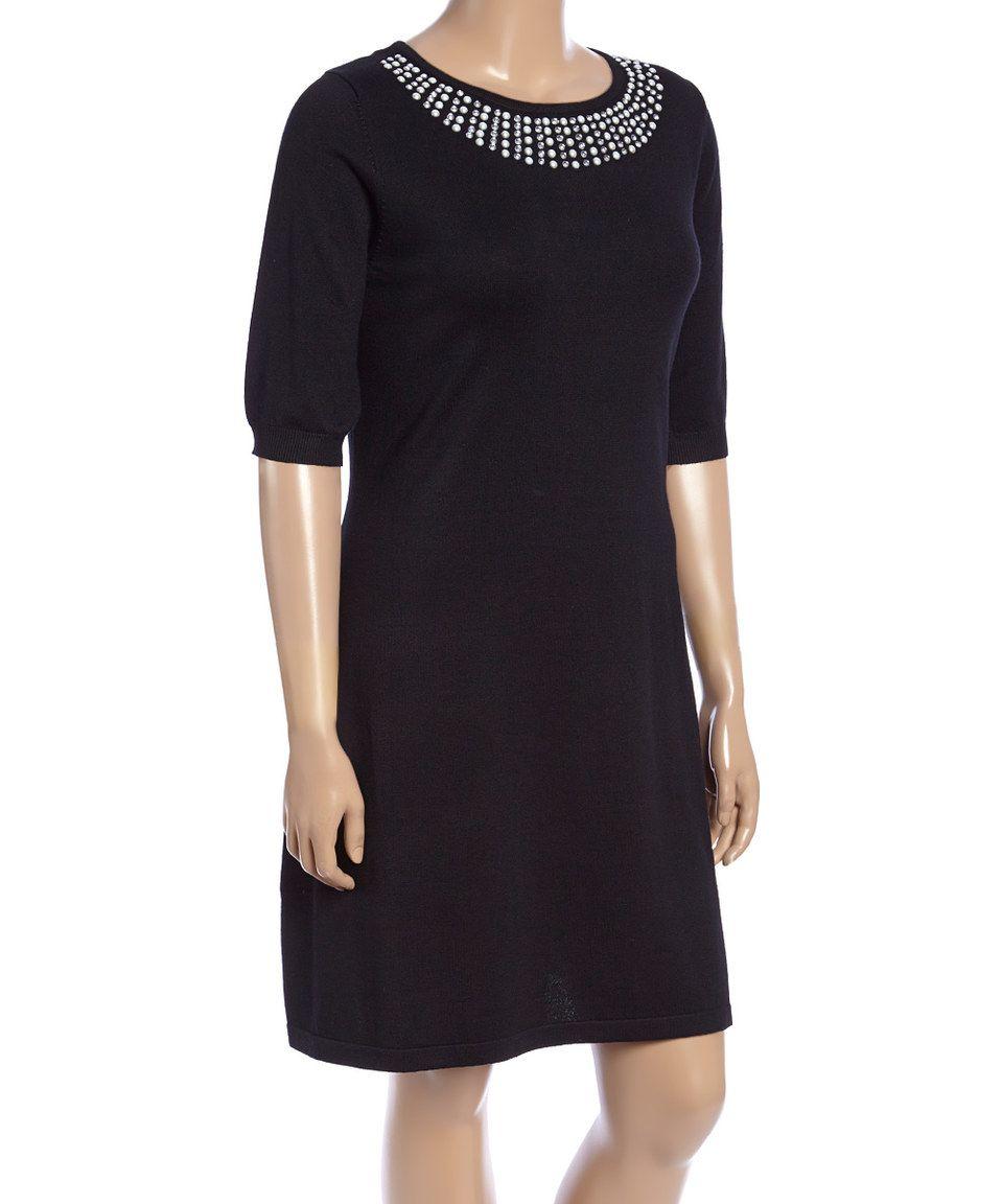 df13c471737 Allison Brittney Black Embellished Sweater Dress - Plus by Allison Brittney   zulily  zulilyfinds