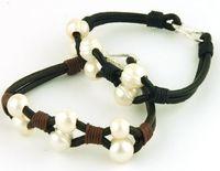 3174d24fd7af Pulsera doble cordón de cuero de 3 mm y 6 perlas cultivadas - Mayoristas  bisuteria
