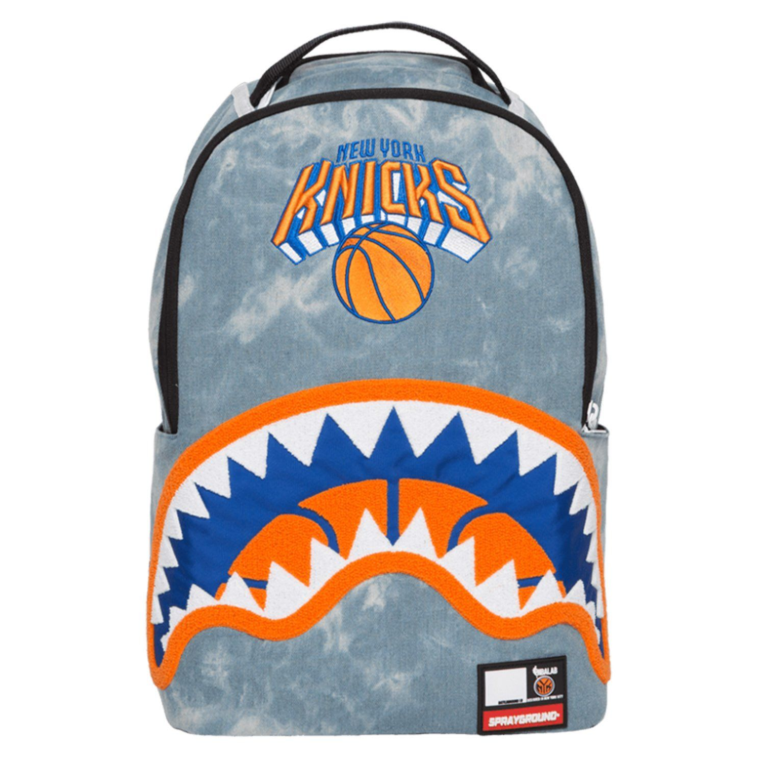 e9b34eeca61 SPRAYGROUND NBA Lab Knicks Denim Shark Backpack