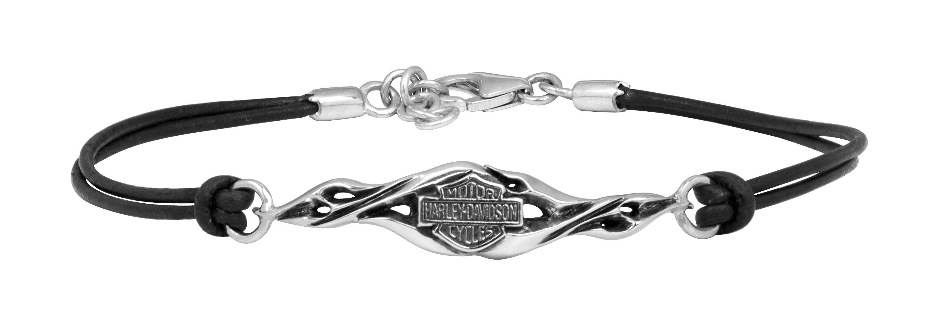 HarleyDavidson® Sterling Silver & Black Leather Flame