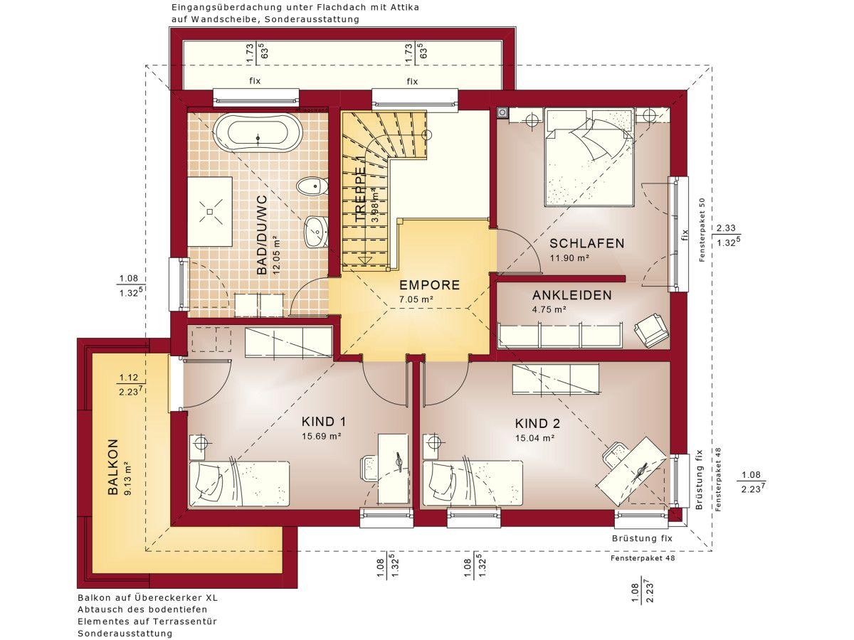 Treppenhaus grundriss 3d  Grundriss Stadtvilla Obergeschoss - Haus Concept M 145 Bien Zenker ...