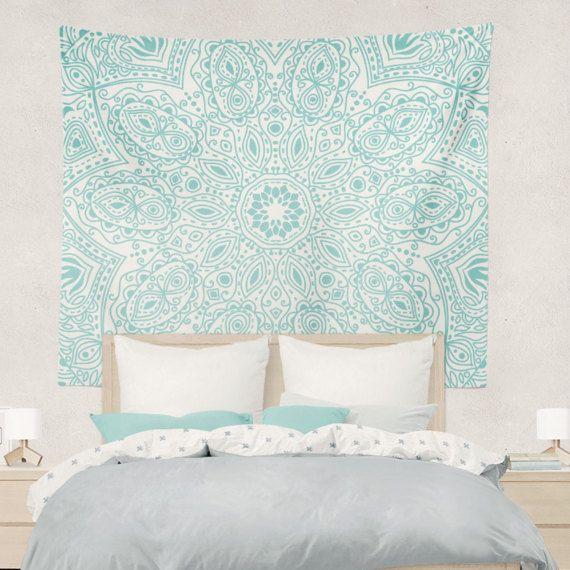 Teal Mandala Boho Wall Tapestry Hippy Yoga by DesignBohemian