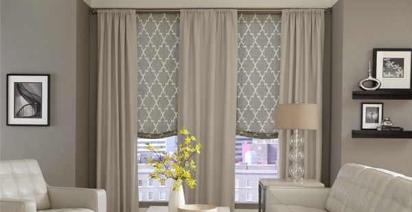 Living Room Marvelous Curtains Over Roman Shades With Rod Pocket