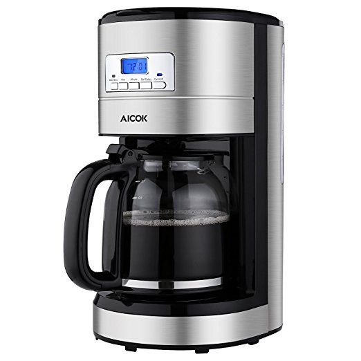Aicok Coffee Maker 12 Cups Programmable Coffee Maker With Timer Coffee Pot And Reusable Stainless Steel Coffee Maker Large Coffee Maker Coffee Maker Machine