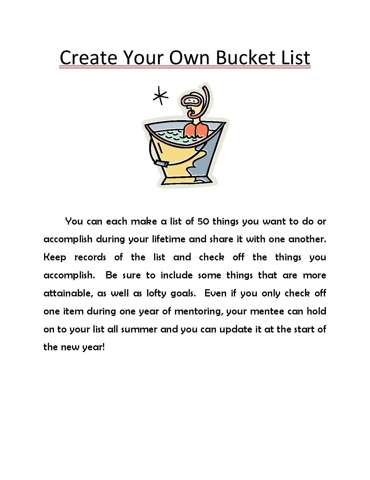 Create A Bucket List With Your Mentee