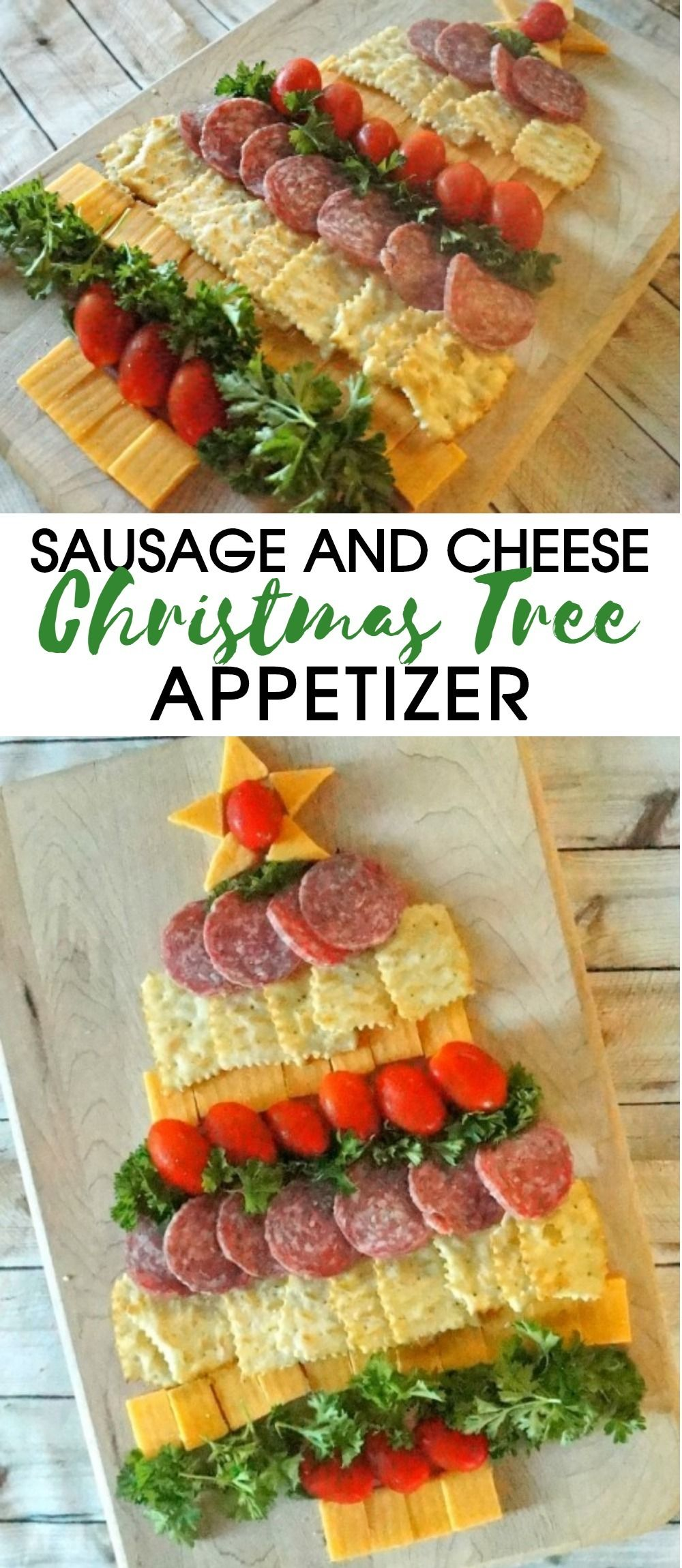 Amazing Holiday Cheese, Cracker and Sausage Christmas Tree Appetizer!