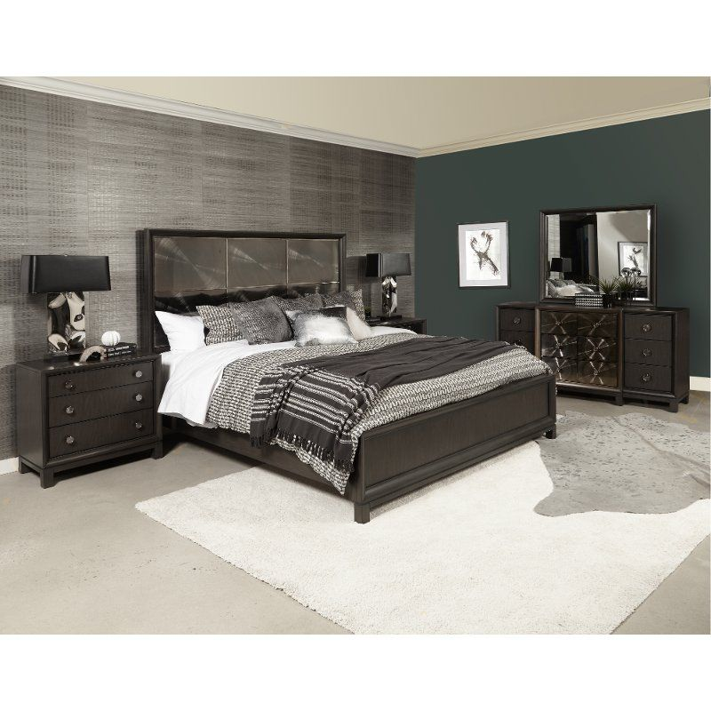 Contemporary Black Nickel 4 Piece Queen Bedroom Set Radiance