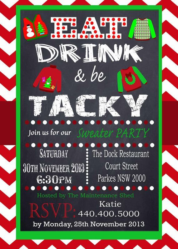 Tacky Sweater Party Invitation Chevron Red Chalkboard Uly Sweater