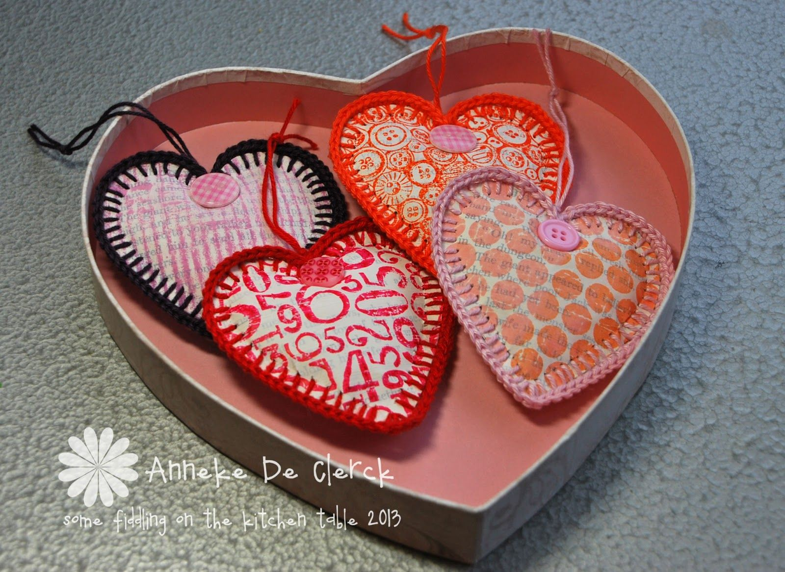 These hearts are made from paper + crochet