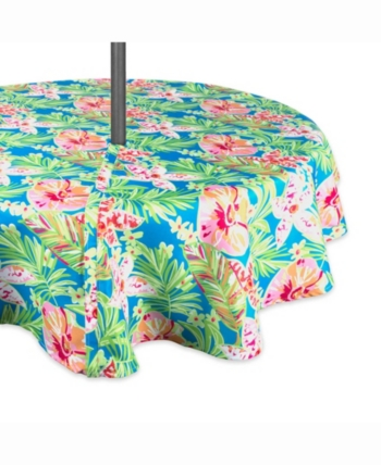 Summer Floral Outdoor Table Cloth With Zipper 60 Round Outdoor