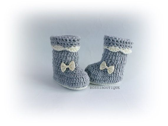 Crochet baby boots Crochet baby booties Gray baby by ROSSIBOUTIQUE ...