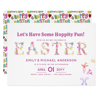 Modern EASTER Invitations Pink Spring Elegant Easter invitations - easter invitations template