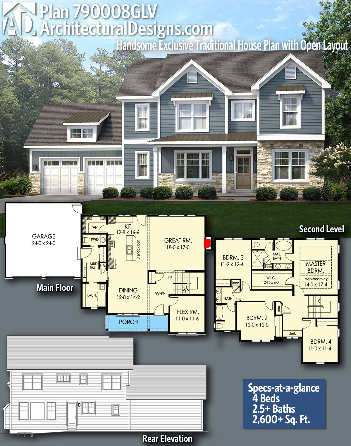 Plan 790008glv Handsome Exclusive Traditional House Plan With
