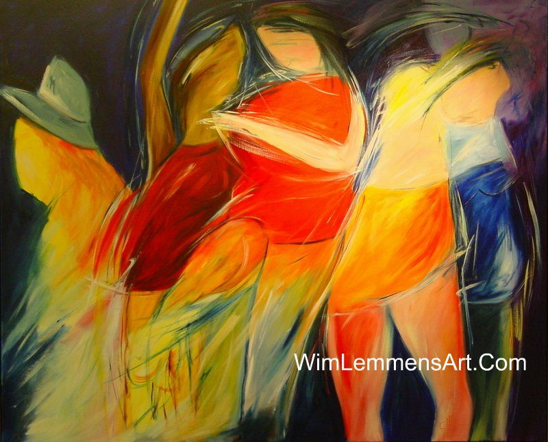 abstract art paintings people | Colorful Abstract Art in the Disco ...