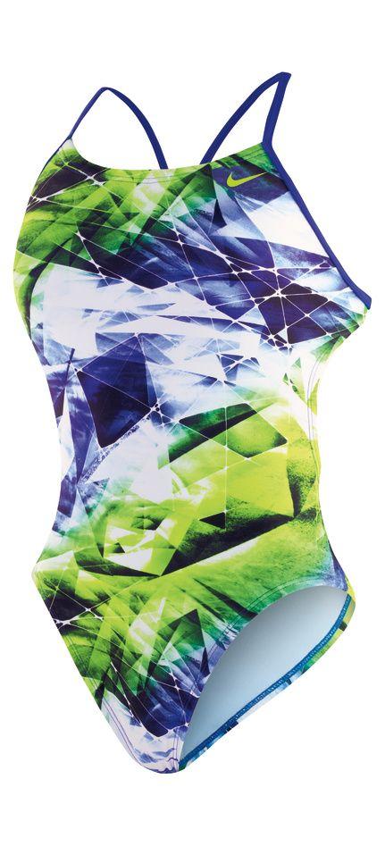 16c17a5e75d NIKE SWIM Female Kaleidotech Cut-Out Tank (Blue Green (903 ...