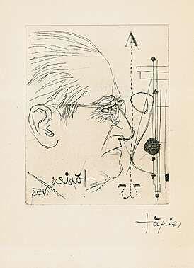 "Antoni Tàpies (geb. 1923 Barcelona) ""Porträt von Carles Riba"" in ""Carles Riba: Salvatge Cor, Sonets"" Radierung 1953 24,8 x 18 cm Pr. 14 x 11,1 cm"