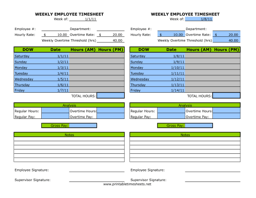 Half Page Weekly Timesheet Printable Time Sheets Free To Download
