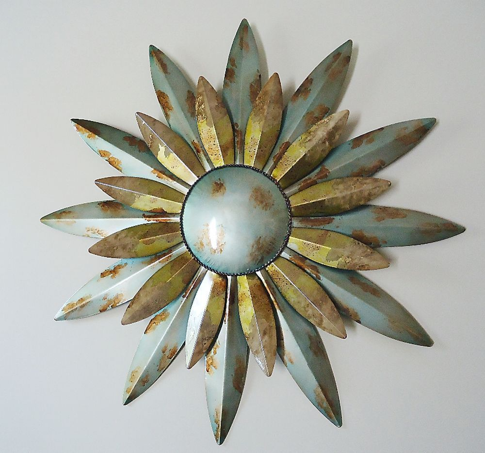 Aqua Sunburst Sun Metal Wall Art Decor Celestial Indoor Outdoor Hanging 29