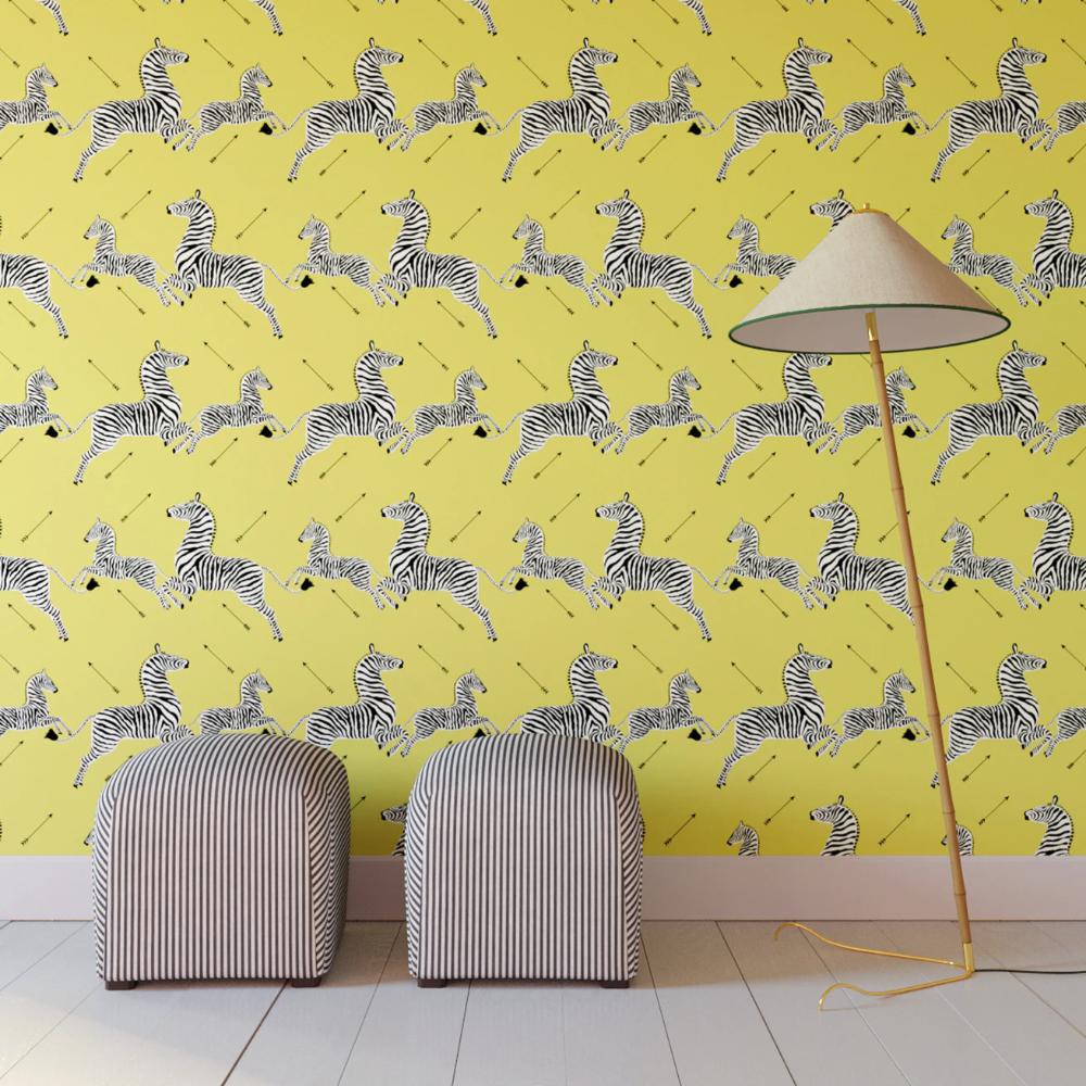 Yellow Zebra Upholstered Custom Peel And Stick Wallpaper Roll Wallpaper Roll Zebra Wallpaper Peel And Stick Wallpaper