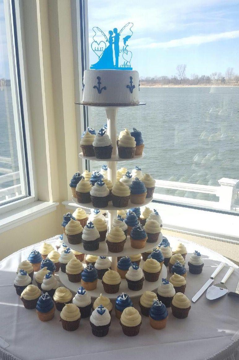 Nautical Themed Cupcake Tower Wedding Cake Alternative Mueller S Bakery Nautical Wedding Cakes Themed Wedding Cakes Nautical Wedding Theme