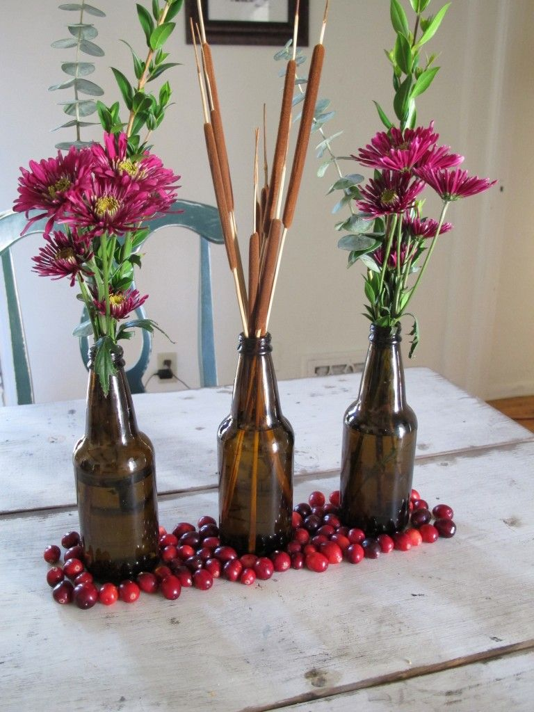 Wedding decorations ideas at home  Beer bottle flowers  Home Decorating Ideas  Pinterest  Beer