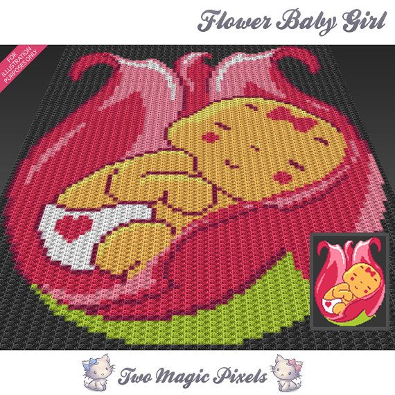 Flower Baby Girl c2c graph crochet pattern; instant PDF download ...