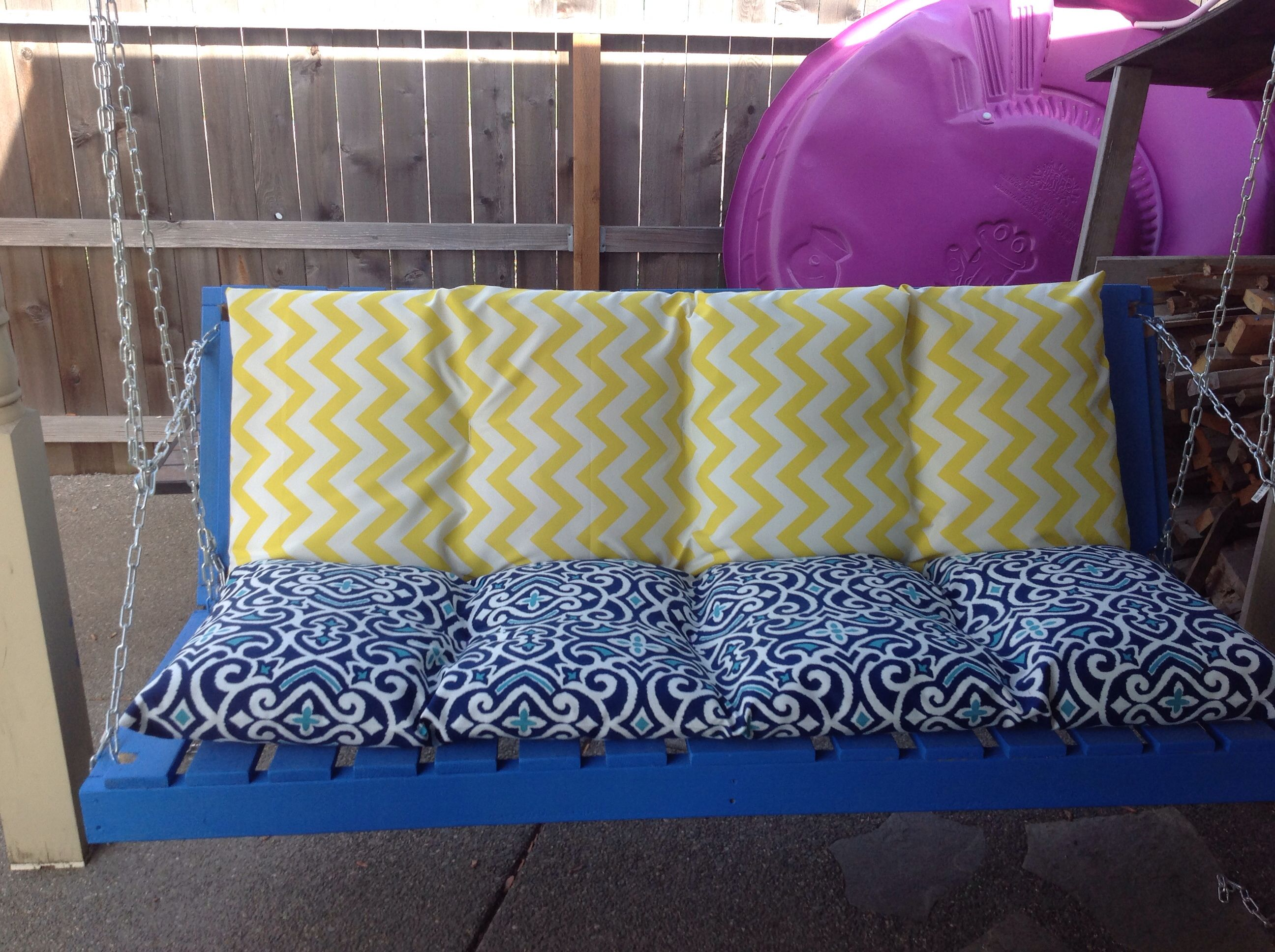 Porch swing futon DIY made with 2x4 s wood slats and chain Then