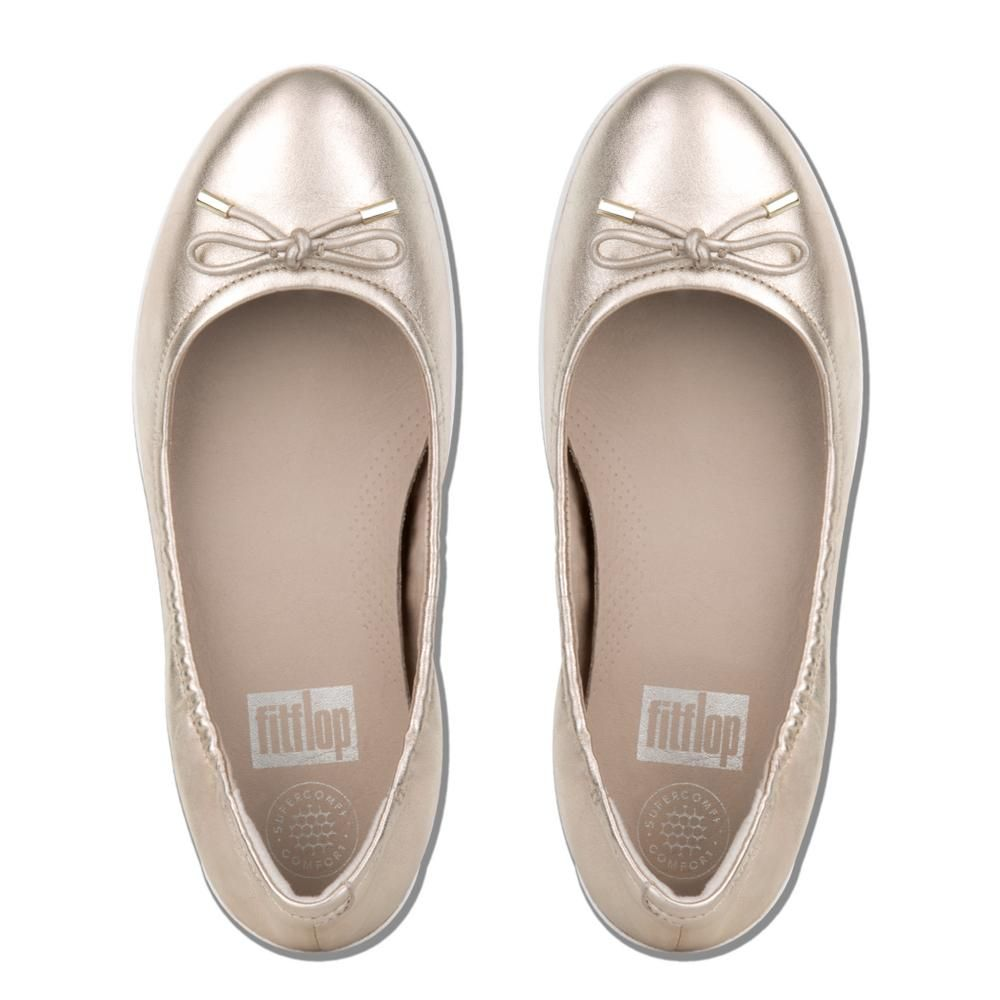 ee4d71dc4678 Fitflop Women s Superbendy Leather Ballet Flats Pale Gold