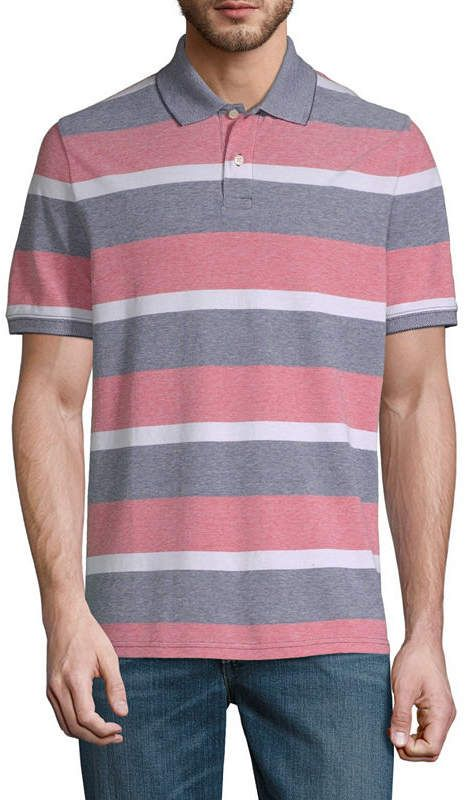 Tommy Hilfiger Men/'s Navy Moor Striped Classic Fit Short Sleeve Polo Shirt