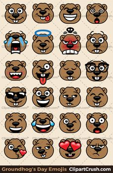 Groundhogs Day Emoji Clipart Faces Cute Groundhog Emojis Emotions Expressions