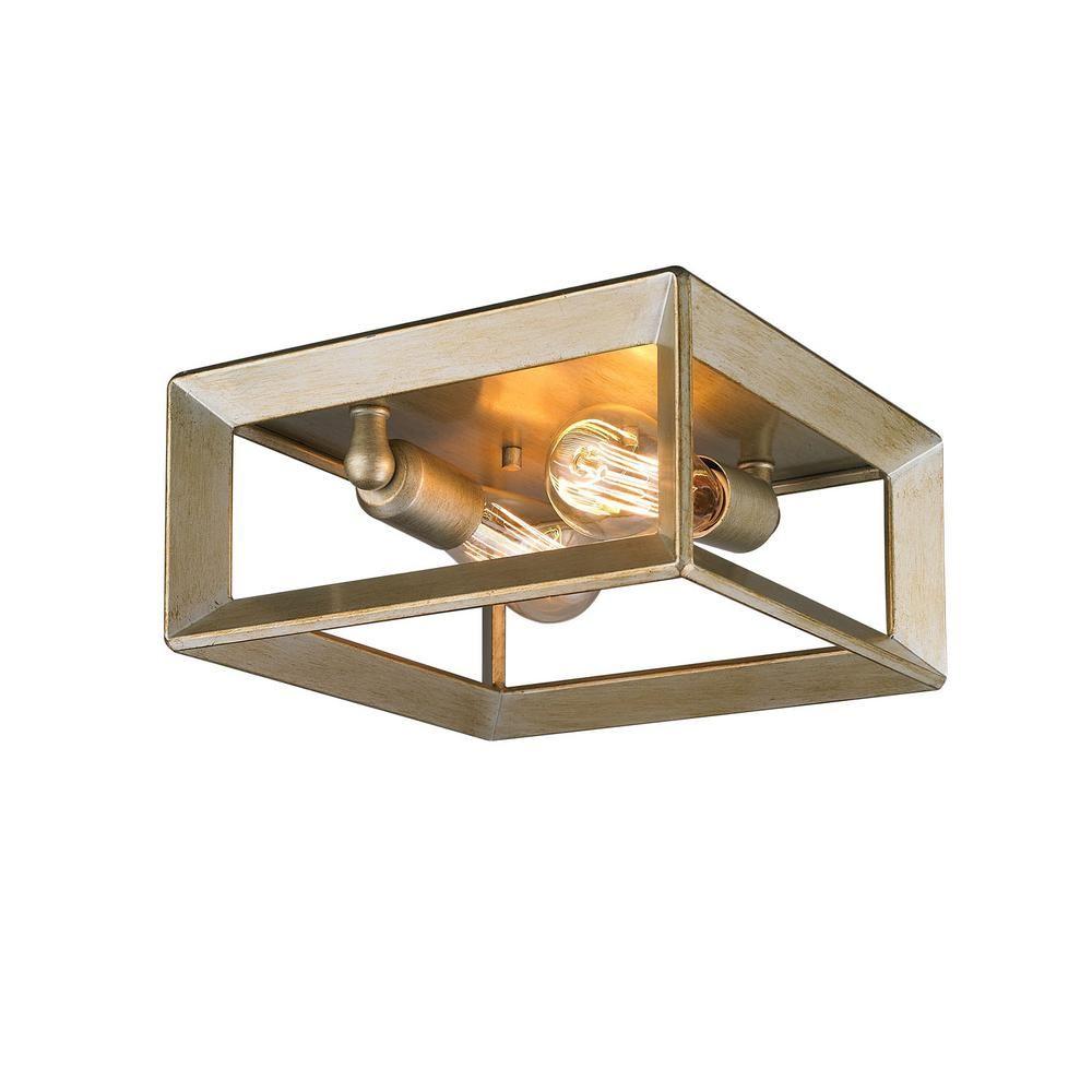 Golden Lighting Smyth 2 Light White Gold Flush Mount 2073 Fm Wg The Home Depot Flush Mount Ceiling Lights Ceiling Lights Golden Lighting