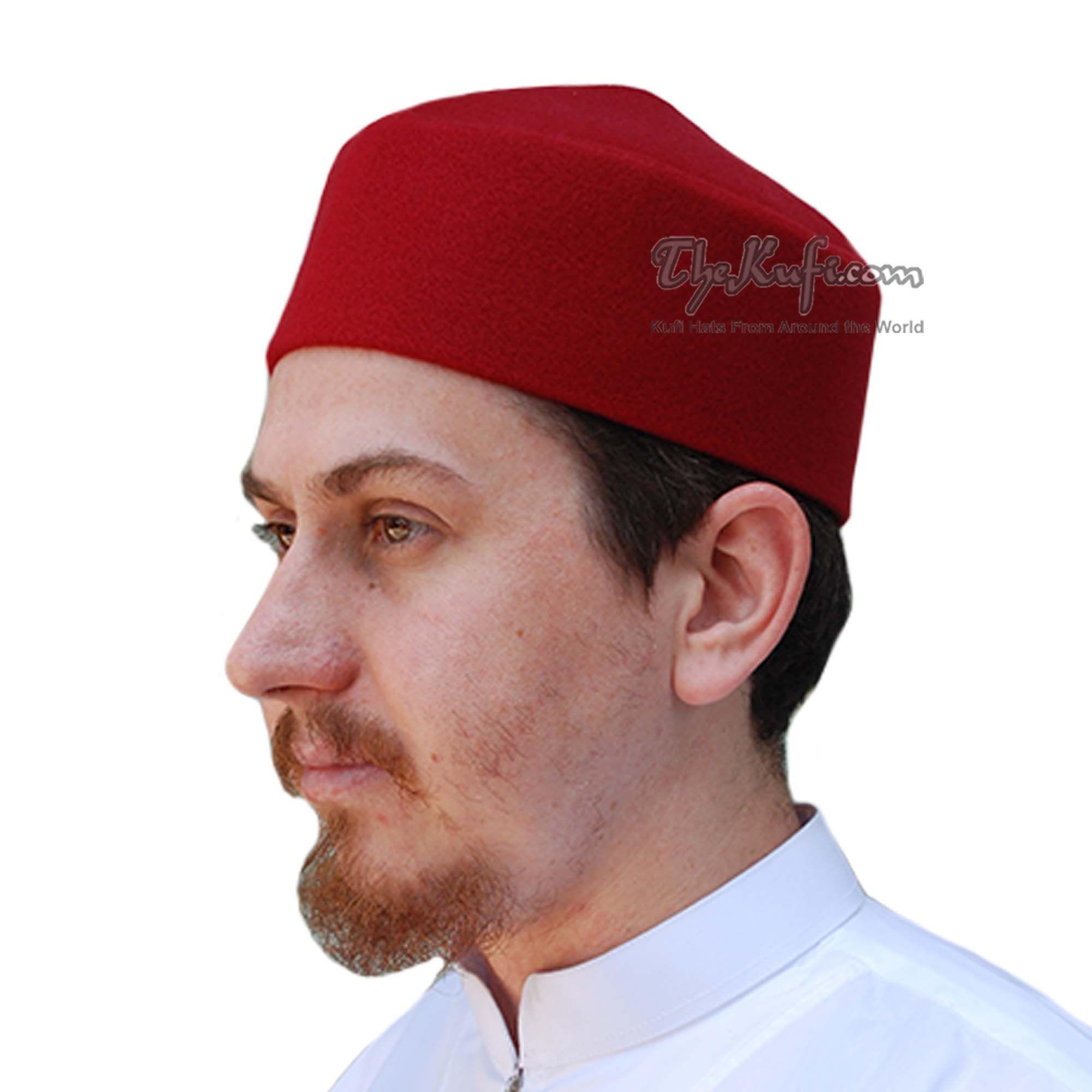Thekufi Handmade Pointed Top Maroon Faux Felt Kufi Thekufi Hats For Sale Faux Maroon