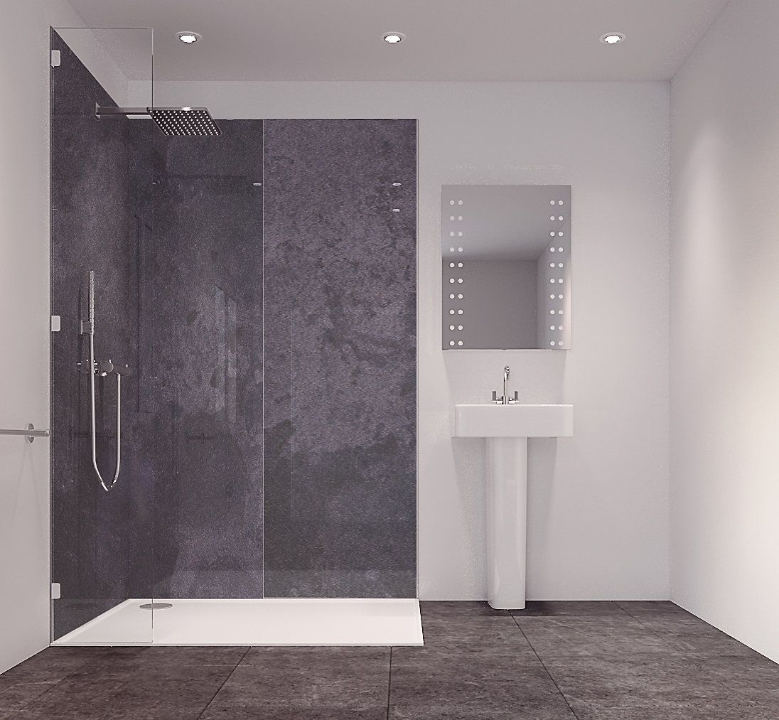 Splashwall Graphite Diffusion Single Shower Panel L 2420mm W 585mm T 11mm Dream Bathrooms Shower Panels Wet Rooms
