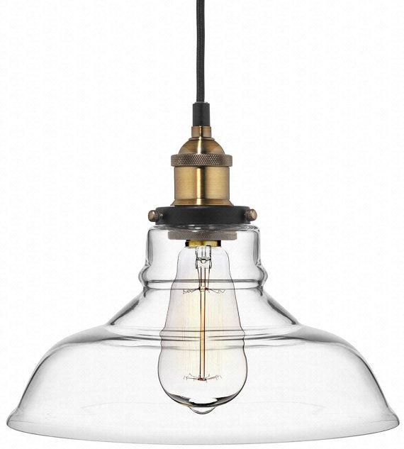 Gl Pendant Light Antique Br Kitchen